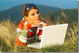 girl laptop outdoor